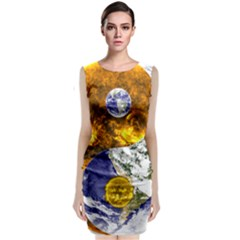 Design Yin Yang Balance Sun Earth Classic Sleeveless Midi Dress