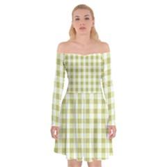 Plaid Pattern Off Shoulder Skater Dress