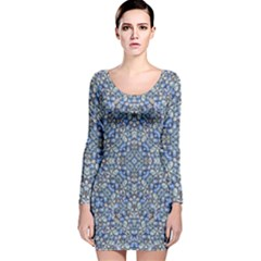 Geometric Luxury Ornate Long Sleeve Velvet Bodycon Dress
