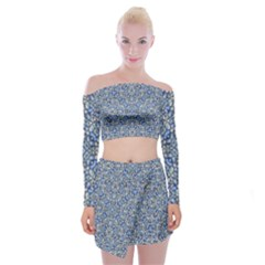 Geometric Luxury Ornate Off Shoulder Top with Skirt Set