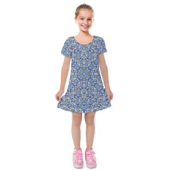 Geometric Luxury Ornate Kids  Short Sleeve Velvet Dress