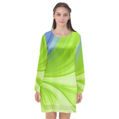 Colors Long Sleeve Chiffon Shift Dress