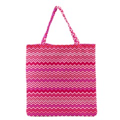 Valentine Pink and Red Wavy Chevron ZigZag Pattern Grocery Tote Bag
