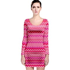 Valentine Pink and Red Wavy Chevron ZigZag Pattern Long Sleeve Bodycon Dress