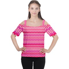 Valentine Pink and Red Wavy Chevron ZigZag Pattern Women s Cutout Shoulder Tee
