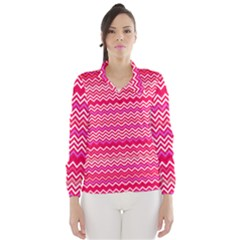 Valentine Pink and Red Wavy Chevron ZigZag Pattern Wind Breaker (Women)