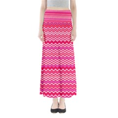 Valentine Pink and Red Wavy Chevron ZigZag Pattern Maxi Skirts