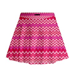 Valentine Pink and Red Wavy Chevron ZigZag Pattern Mini Flare Skirt