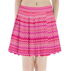 Valentine Pink and Red Wavy Chevron ZigZag Pattern Pleated Mini Skirt