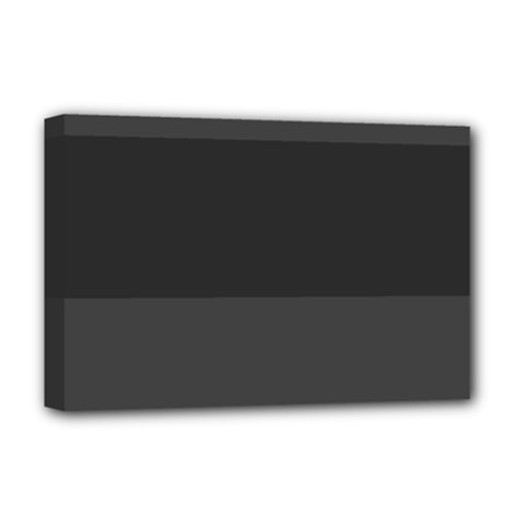 Gray And Black Thick Stripes Deluxe Canvas 18  X 12