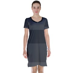 Gray And Black Thick Stripes Short Sleeve Nightdress