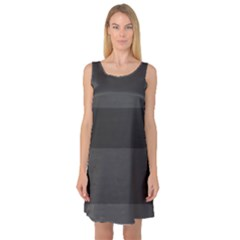 Gray And Black Thick Stripes Sleeveless Satin Nightdress