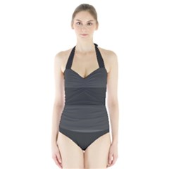 Gray And Black Thick Stripes Halter Swimsuit