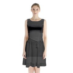 Gray And Black Thick Stripes Sleeveless Waist Tie Chiffon Dress