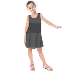 Gray And Black Thick Stripes Kids  Sleeveless Dress