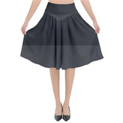 Gray And Black Thick Stripes Flared Midi Skirt