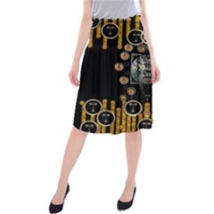 Foxy Panda Lady With Bat And Hat In The Forest Midi Beach Skirt