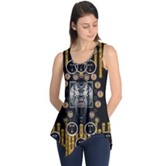 Foxy Panda Lady With Bat And Hat In The Forest Sleeveless Tunic