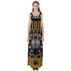 Foxy Panda Lady With Bat And Hat In The Forest Empire Waist Maxi Dress
