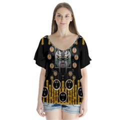 Foxy Panda Lady With Bat And Hat In The Forest Flutter Sleeve Top