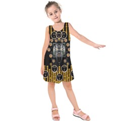 Foxy Panda Lady With Bat And Hat In The Forest Kids  Sleeveless Dress