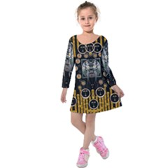 Foxy Panda Lady With Bat And Hat In The Forest Kids  Long Sleeve Velvet Dress