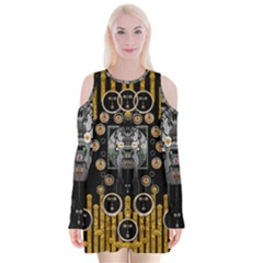Foxy Panda Lady With Bat And Hat In The Forest Velvet Long Sleeve Shoulder Cutout Dress