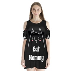 Love My Cat Mommy Shoulder Cutout Velvet  One Piece