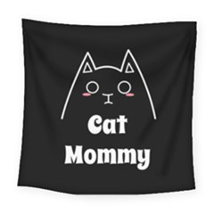 Love My Cat Mommy Square Tapestry (large)