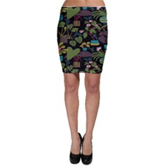 Wreaths Flower Floral Leaf Rose Sunflower Green Yellow Black Bodycon Skirt