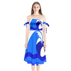 Blue Beach Sea Wave Waves Chevron Water Shoulder Tie Bardot Midi Dress