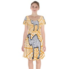 Animals Camel Animals Deserts Yellow Short Sleeve Bardot Dress