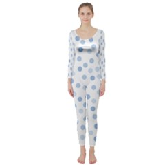Bubble Balloon Circle Polka Blue Long Sleeve Catsuit