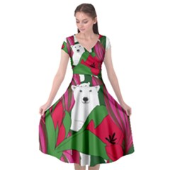 Animals White Bear Flower Floral Red Green Cap Sleeve Wrap Front Dress
