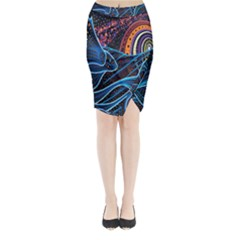 Fish Out Of Water Monster Space Rainbow Circle Polka Line Wave Chevron Star Midi Wrap Pencil Skirt