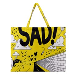 Have Meant  Tech Science Future Sad Yellow Street Zipper Large Tote Bag