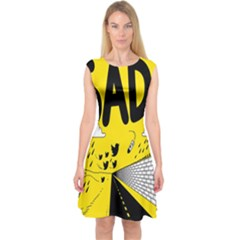 Have Meant  Tech Science Future Sad Yellow Street Capsleeve Midi Dress