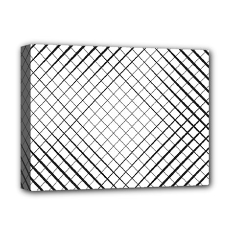 Simple Pattern Waves Plaid Black White Deluxe Canvas 16  X 12