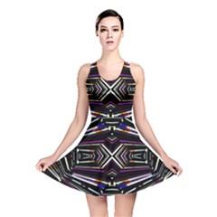 Dark Ethnic Sharp Bold Pattern Reversible Skater Dress