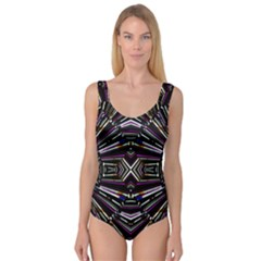 Dark Ethnic Sharp Bold Pattern Princess Tank Leotard