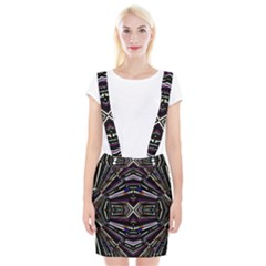 Dark Ethnic Sharp Bold Pattern Braces Suspender Skirt