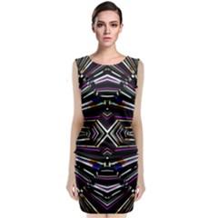 Dark Ethnic Sharp Bold Pattern Sleeveless Velvet Midi Dress