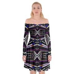 Dark Ethnic Sharp Bold Pattern Off Shoulder Skater Dress