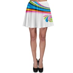 Colored Lines Rainbow Skater Skirt