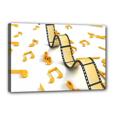 Isolated Three Dimensional Negative Roll Musical Notes Movie Canvas 18  X 12