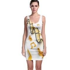 Isolated Three Dimensional Negative Roll Musical Notes Movie Sleeveless Bodycon Dress