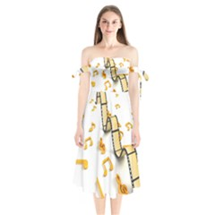 Isolated Three Dimensional Negative Roll Musical Notes Movie Shoulder Tie Bardot Midi Dress