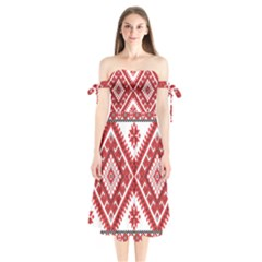 Fabric Aztec Shoulder Tie Bardot Midi Dress