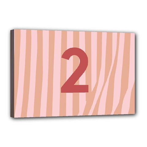 Number 2 Line Vertical Red Pink Wave Chevron Canvas 18  X 12