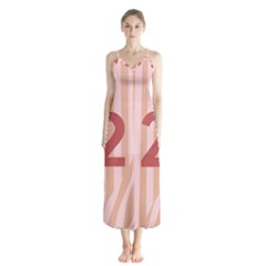 Number 2 Line Vertical Red Pink Wave Chevron Chiffon Maxi Dress